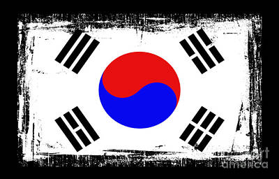 Digital Altered Mixed Media - Beautiful South Korea Flag by Pamela Johnson