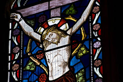 Crucifix Art Photograph - Beautiful Stained Glass Window Depicting Jesus On The Cross by Matthew Gibson
