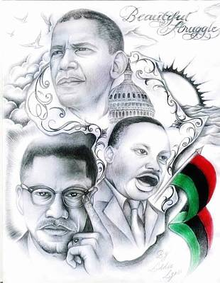 Barrack Obama Drawing - Beautiful Struggle by Eddie Egesi