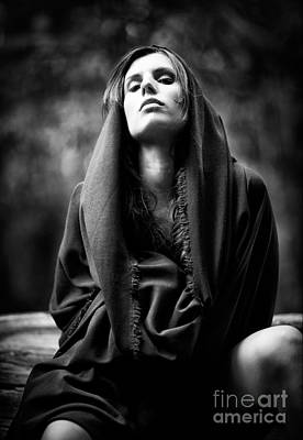 Roleplaying Photograph - Beautiful Sultry Woman In Black Robe by Joe Fox