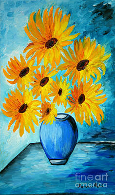 Beautiful Sunflowers In Blue Vase Art Print