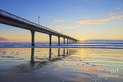 Canterbury Wall Art - Photograph - Beautiful Sunrise Sunset New Brighton Pier Christchurch New Zealand by Colin and Linda McKie