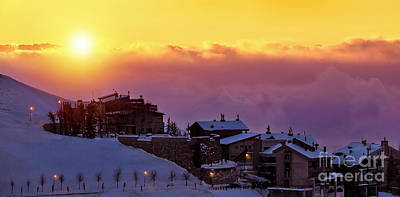 Ski House Wall Art - Photograph - Beautiful Sunset In Snowy Mountainous Village by Anna Om