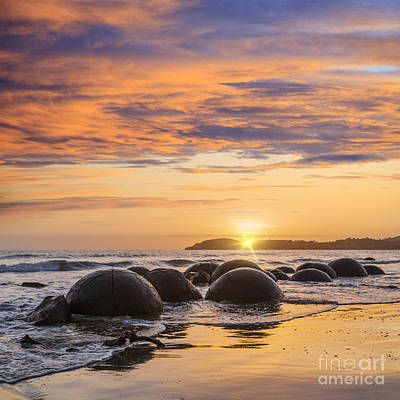 Photograph - Beautiful Sunset Moeraki Boulders New Zealande New Zealand Otago Square by Colin and Linda McKie