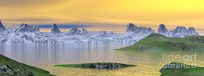 Surrealism Digital Art - Beautiful Sunset Over Landscape by Elena Duvernay