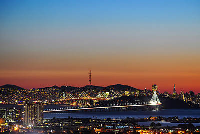 Beautiful Sunset Over The New Bay Bridge And San Francisco Art Print