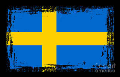 Abstract Digital Art Mixed Media - Beautiful Sweden Flag by Pamela Johnson
