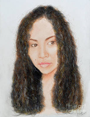 Hair Drawing - Beautiful Thai  Artist And Model Dao II by Jim Fitzpatrick