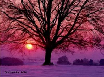 Painting - Beautiful Tree On A Winter Evening Sunset by Bruce Nutting