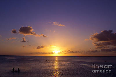 Beautiful Tropical Island Sunset On The Beach In Guam Art Print by Beverly Claire Kaiya
