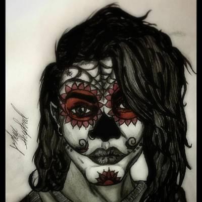 Sugar Skull Girl Drawing - Beautiful Undead by Joshua Shepherd