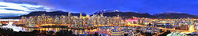 Vancouver At Night Photograph - Beautiful Vancouver Panorama by Wesley Allen Shaw