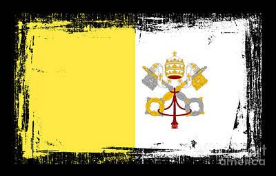Religious Art Mixed Media - Beautiful Vatican City Flag by Pamela Johnson