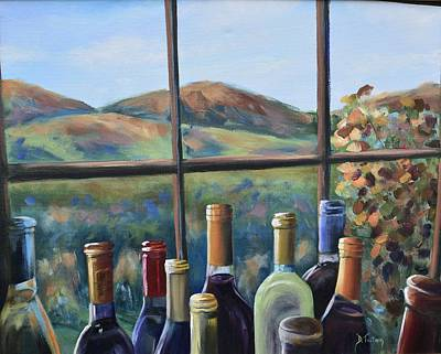 Wine Bottle Painting - Beautiful View by Donna Tuten