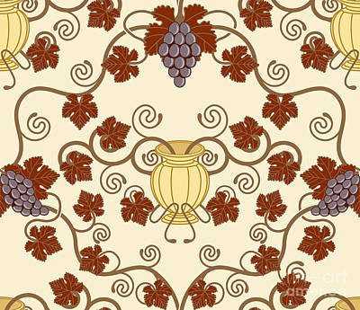 Grape Leaf Mixed Media - Beautiful Vine Leaf And Urn Seamless Tile Design  by Christos Georghiou