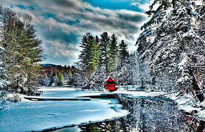 Snow Photograph - Beautiful Winter Day At The Red Boathouse by David Patterson