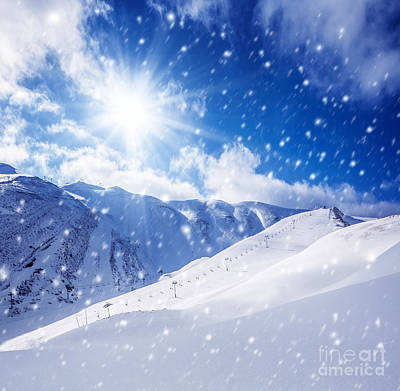 Christmas Holiday Scenery Photograph - Beautiful Winter Landscape by Anna Om