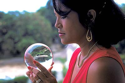 Gold Earrings Photograph - Beautiful Woman Gazes Into Crystal Ball by Carl Purcell