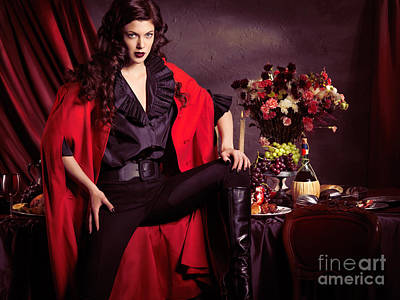 Autumn Photograph - Beautiful Woman In Red Coat In Front Of Festive Table by Oleksiy Maksymenko