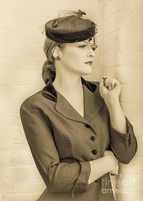 Beautiful Woman In Vintage Forties Clothing Art Print