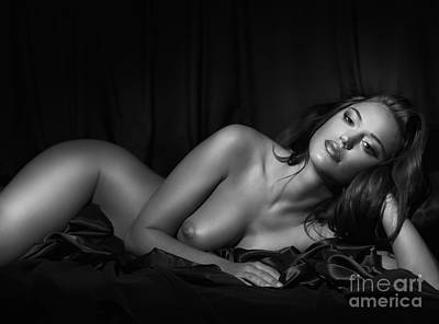 Beautiful Woman Lying Naked In Bed Black And White Portrait Art Print by Oleksiy Maksymenko