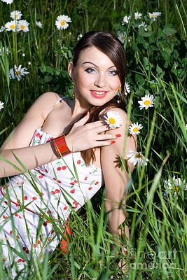 Beautiful Woman Sitting In Tall Grass And Daisies Art Print by Diana Jo Marmont