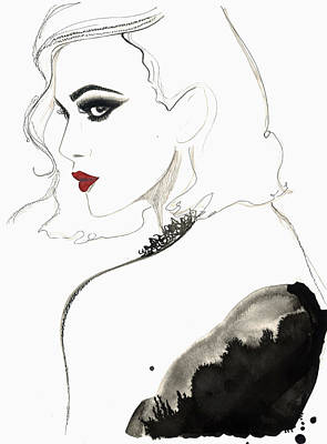 Digital Art - Beautiful Woman Wearing Red Lipstick by Jessica Durrant
