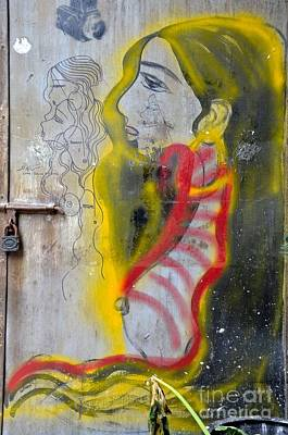 Photograph - Beautiful Woman With Golden Hair Door Graffiti Art by Imran Ahmed
