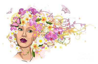 Beautiful Woman With Hair Made Of Flowers Art Print