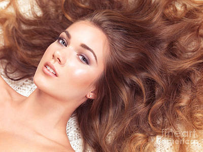 Bed Spread Photograph - Beautiful Woman With Long Hair Spread Around Her by Oleksiy Maksymenko