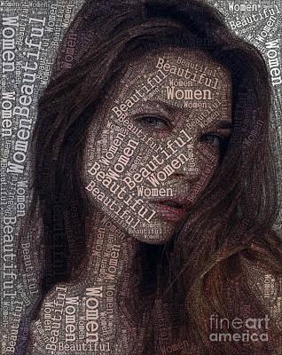 Beautiful Women Typography Design Art Print by Boon Mee