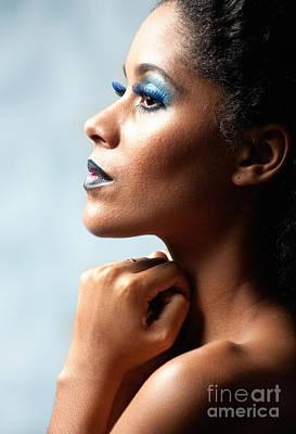 Beautiful Young Black Woman Looking Away Print by Joe Fox