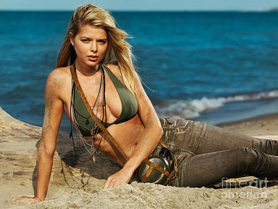 Pant Suit Photograph - Beautiful Young Blond Woman On The Beach by Oleksiy Maksymenko