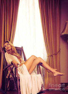 Beautiful Young Woman In A Rocking Chair By The Window Art Print