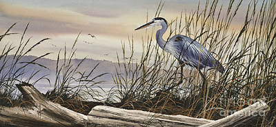 Blue Heron Painting - Beauty Along The Shore by James Williamson