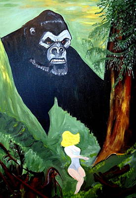 Art Print featuring the painting Beauty And The Beast by Nora Shepley