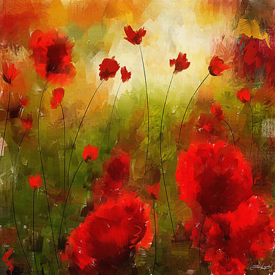 Orange Poppy Painting - Beauty In Bloom by Lourry Legarde