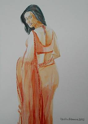 Painting - Beauty In Saree by Geeta Biswas