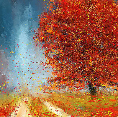 Red Maple Trees Painting - Beauty Of It- Autumn Impressionism by Lourry Legarde