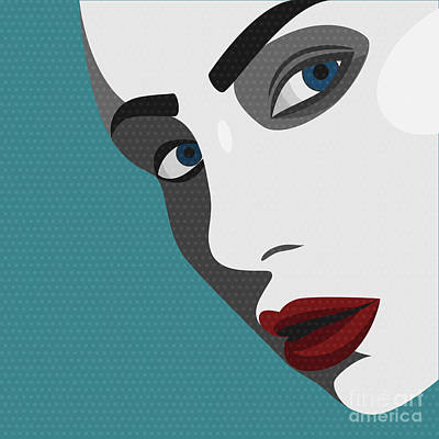 Beautiful Woman Wall Art - Digital Art - Beauty Pop Art Young Woman With Red by Svyatoslav Aleksandrov