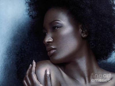 Big Hair Photograph - Beauty Portrait Of Beautiful Black Woman Face With Silvery Skin by Oleksiy Maksymenko