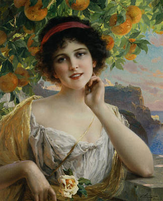Digital Art - Beauty Under The Orange Tree by Emile Vernon
