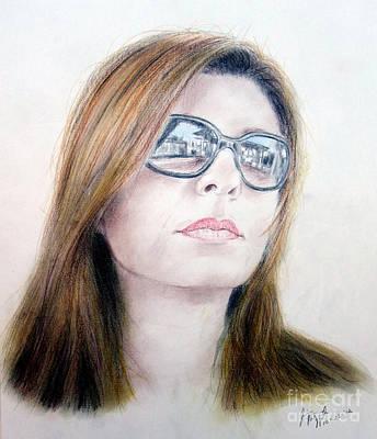 Long Hair Drawing - Beauty Wearing Sunglasss  by Jim Fitzpatrick