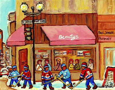Beauty's Restaurant Paintings Of Plateau Montreal Winter Scenes Hockey Art Carole Spandau  Original by Carole Spandau