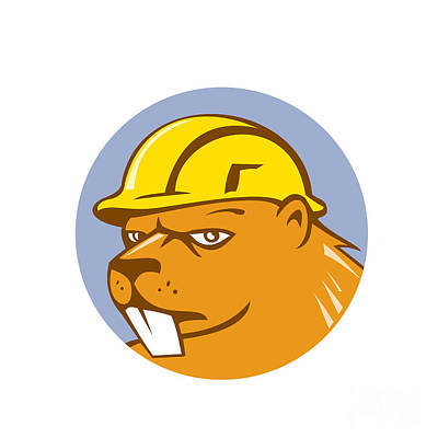 Beaver Digital Art - Beaver Construction Worker Circle Cartoon  by Aloysius Patrimonio