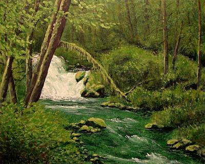 Art Print featuring the mixed media Beaver Creek Falls by Kenny Henson