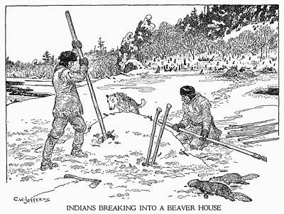 Pole Drawing - Beaver Hunting by Granger