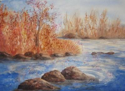 Autumn Landscape Mixed Media - Beaver Pond by Ellen Levinson