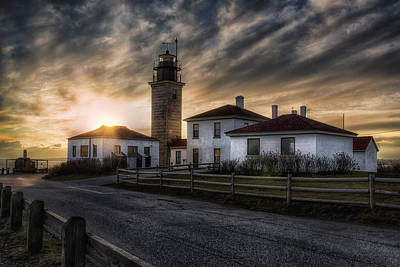 Beavertail Lighthouse Sunset Art Print