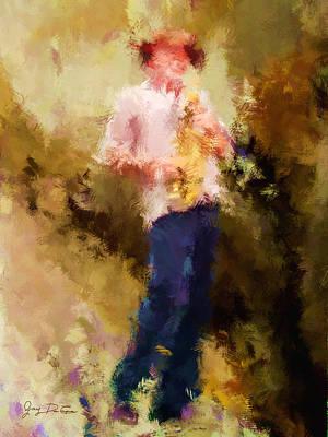 Digital Art - Bebop Sax Man by Gary De Capua
